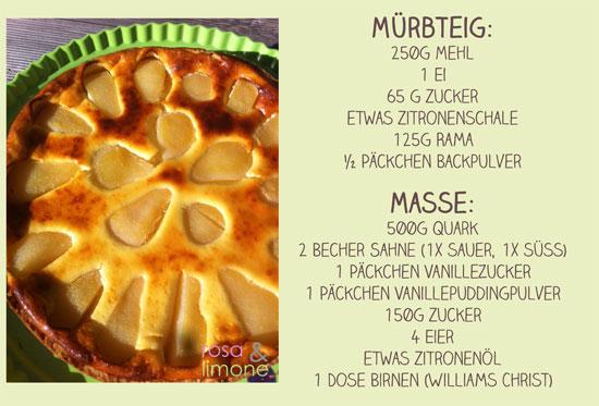 Zutaten-Birnenrahmkuchen