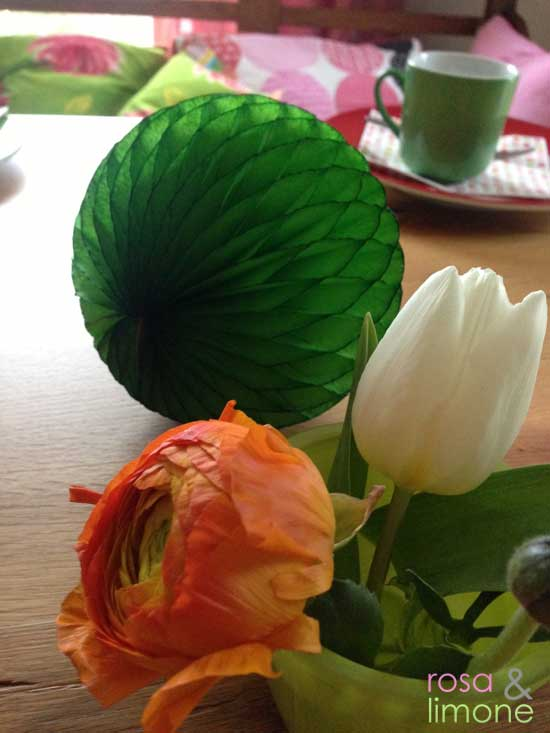 Geburtstagstischdeko-Rosette-rosa&limone