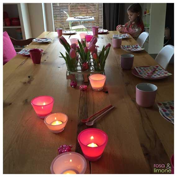 Kindergeburtstagsdeko-Tisch-rosaundlimone