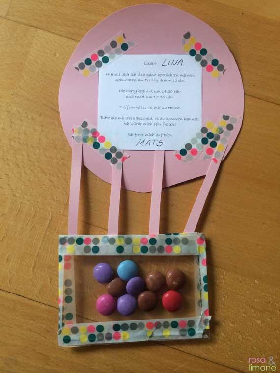 Heissluftballon-Kindergeburtstagseinladung-Junge-rosaundlimone-Rueckseite