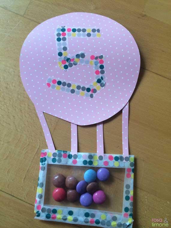 Heissluftballon-Kindergeburtstagseinladung-Junge-rosaundlimone-Vorderseite